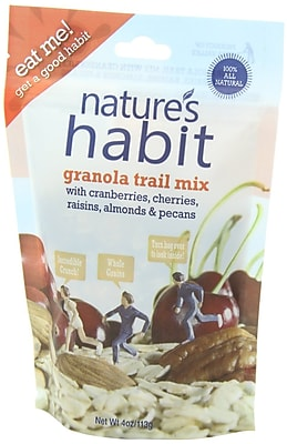 Nature s Habit Granola Trail Mix with Cranberries Cherries Raisins Almonds and Pecans 4 Oz. 16/Pack