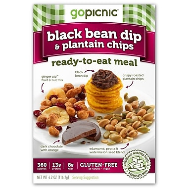 gopicnic Black Bean Dip and Plantain Chips Ready to Eat Meals 4.2 Oz., 6/Pack