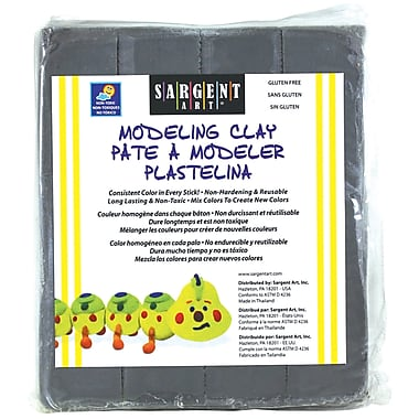 Sargent Art 1 lbs. Plastic Solid Colour Modeling Clay, Gray, 6/Pack (SAR224084)