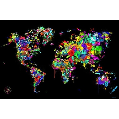 Maxwell Dickson Modern ''World of Colors'' Graphic Art on Canvas; 36'' H x 48'' W