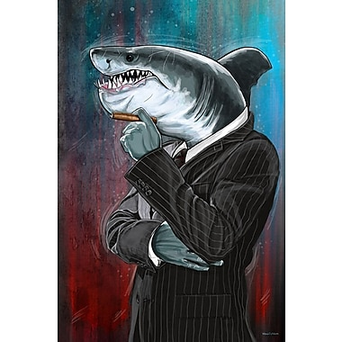 Maxwell Dickson Business Shark Painting Print on Wrapped Canvas; 36'' H x 24'' W