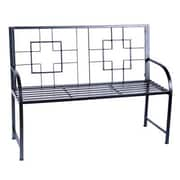 ACHLA Square-on-Squares Entryway Wrought Iron Garden Bench