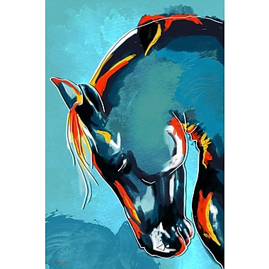 Maxwell Dickson ''Blue Stallion'' Graphic Art on Canvas; 36'' H x 48'' W