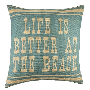 TheWatsonShop Life Is Better At the Beach Burlap Throw Pillow
