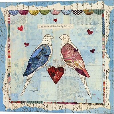 Evive Designs Love Birds Square by Courtney Prahl Graphic Art on Wrapped Canvas