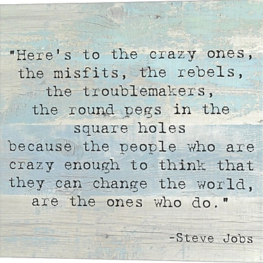 Evive Designs Here's to the Crazy Ones by Steve Jobs Quote Textual Art on Wrapped Canvas