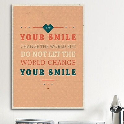 iCanvas American Flat Smile Textual Art on Wrapped Canvas; 40'' H x 26'' W x 0.75'' D