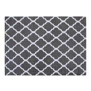 Chesapeake Cotton Printed Grey and White Quatrefoil Geometric Rug