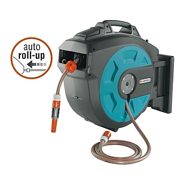 Gardena Plastic Wall-Mounted Hose Reel w/ Automatic Rewind; 82 ft