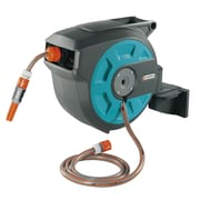 Gardena Plastic Wall-Mounted Hose Reel w/ Automatic Rewind; 50 ft
