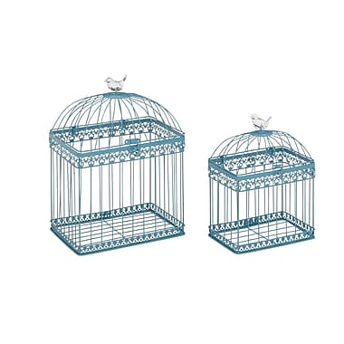 Woodland Imports 2 Piece Adorable and Unique Bird Cage Set; Aqua Blue