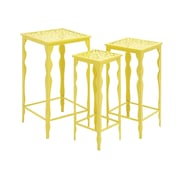 Woodland Imports 3 Piece The Metal Plant Stand Set; Yellow