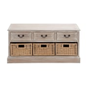 Woodland Imports The Cool Wood 3 Basket Low Chest