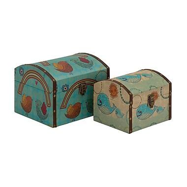 Cole & Grey 2 Piece Classy Wood Canvas Box Set