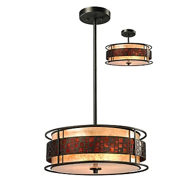 Z-Lite Milan 3-Light Drum Pendant; 54'' H x 18'' W x 18'' D