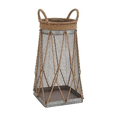 Woodland Imports Classy Metal Jute Basket