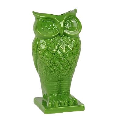 Woodland Imports Beautiful and Spectacular Owl Design Ceramic Vase; Green