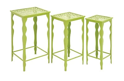 Woodland Imports 3 Piece The Metal Plant Stand Set; Green