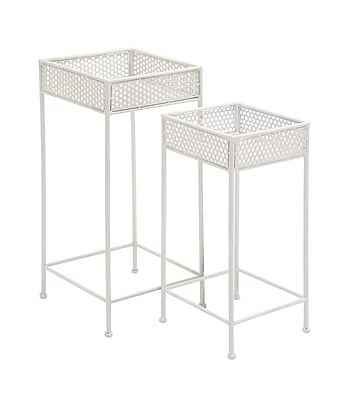 Woodland Imports 2 Piece Plant Stand Set; White