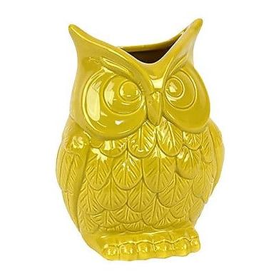 Woodland Imports Beautiful and Spectacular Ceramic Owl Vase; Yellow