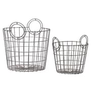 Woodland Imports 2 Piece French Market Bag Replica Metallic Wire Mesh Basket Set; Silver