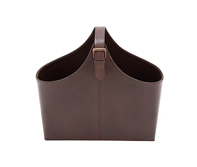 Cole & Grey Wood Real Leather Magazine Holder; Brown
