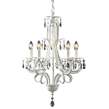 Z-Lite Pearl (849W) 5 Light Crystal Chandelier, 14.75
