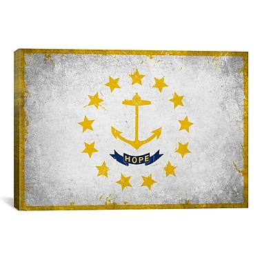 iCanvas Rhode Island Flag, Grunge Graphic Art on Canvas; 12'' H x 18'' W x 1.5'' D