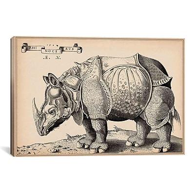 iCanvas Animal Rhinoceros by Enea Vico Graphic Art on Canvas; 18'' H x 26'' W x 1.5'' D