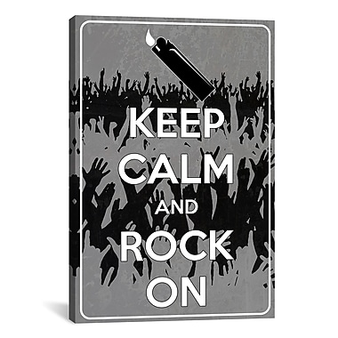 iCanvas Keep Calm and Rock On Graphic Art on Canvas; 26'' H x 18'' W x 0.75'' D