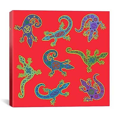 iCanvas '8 Lizards' by Willow Bascom Graphic Art on Canvas; 18'' H x 18'' W x 0.75'' D