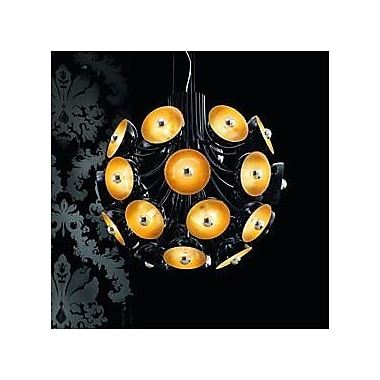 Evi Style 28-Light Inverted Pendant; Polished Black with Silver Leaf Diffuser
