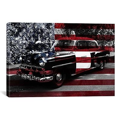 iCanvas Vintage Polics Cops Car, American Flag Graphic Art on Canvas; 26'' H x 40'' W x 1.5'' D