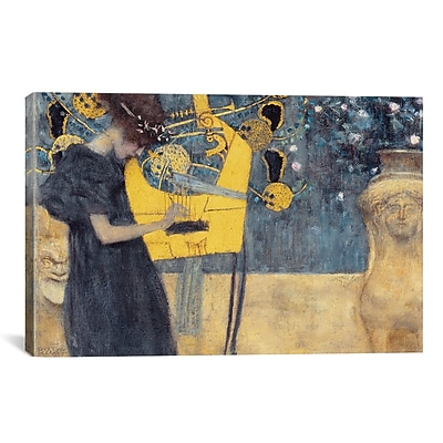 iCanvas 'Musik I 1895' by Gustav Klimt Painting Print on Canvas; 26'' H x 40'' W x 1.5'' D