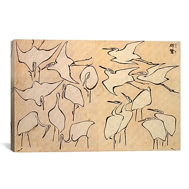 iCanvas 'Cranes' by Katsushika Hokusai Painting Print on Canvas; 26'' H x 40'' W x 0.75'' D