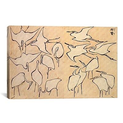iCanvas 'Cranes' by Katsushika Hokusai Painting Print on Canvas; 18'' H x 26'' W x 0.75'' D