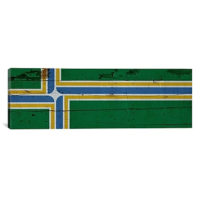 iCanvas Portland Flag, Wood Planks Panoramic Graphics Art on Canvas; 16'' H x 48'' W x 1.5'' D