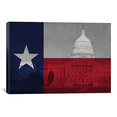 iCanvas Texas Flag, Capitol Building w/ Map Graphic Art on Canvas; 26'' H x 40'' W x 0.75'' D