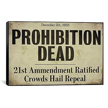 iCanvas Color Bakery 'Prohibition' Textual Art on Canvas; 26'' H x 40'' W x 1.5'' D