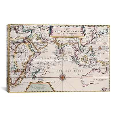 iCanvas Antique Map of Indian Ocean Graphic Art on Canvas; 18'' H x 26'' W x 1.5'' D