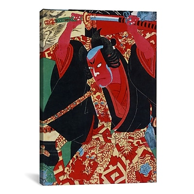 iCanvas Japanese Samurai Painted Woodblock Painting Print on Canvas; 26'' H x 18'' W x 1.5'' D