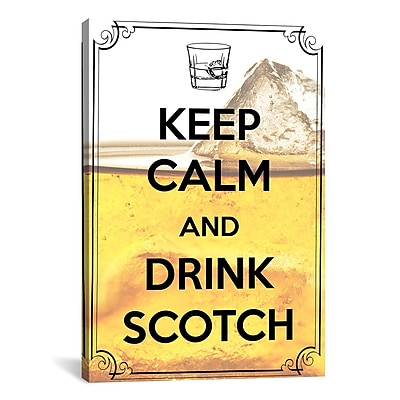 iCanvas Keep Calm and Drink Scotch Textual Art on Canvas; 40'' H x 26'' W x 1.5'' D