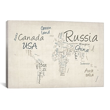 iCanvas 'World Map' by Michael Tompsett Textual Art on Canvas; 12'' H x 18'' W x 1.5'' D