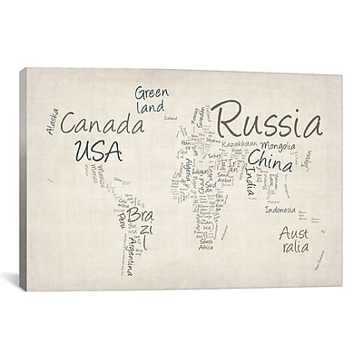 iCanvas 'World Map' by Michael Tompsett Textual Art on Canvas; 26'' H x 40'' W x 0.75'' D
