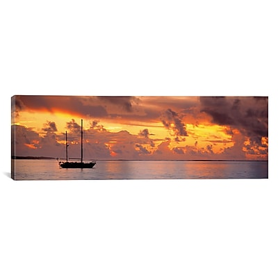 iCanvas Panoramic Boat at Sunset Photographic Print on Canvas; 30'' H x 90'' W x 1.5'' D