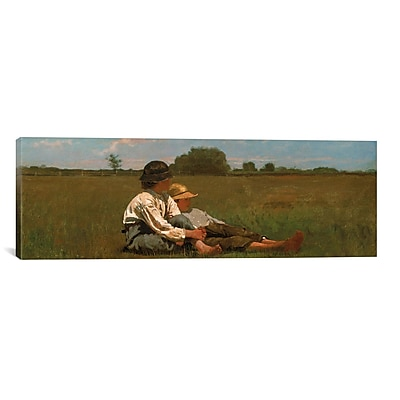 iCanvas 'Boys in a Pasture' by Winslow Homer Painting Print on Canvas; 12'' H x 36'' W x 1.5'' D