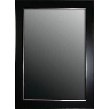 Second Look Mirrors Semi Matte Black w/ Silver Trim Edges Wall Mirror; 66'' H x 30'' W