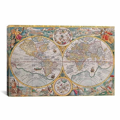iCanvas Antique Map of the World 1594 Graphic Art on Canvas; 40'' H x 60'' W x 1.5'' D