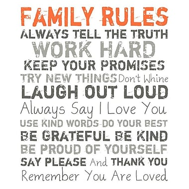 PTM Images Family Rules Textual Art on Wrapped Canvas in Orange