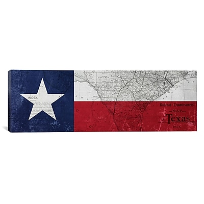 iCanvas Texas Flag, Map Panoramic Graphic Art on Canvas; 12'' H x 36'' W x 1.5'' D